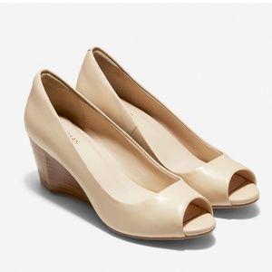 Cole Haan Wedge Nude Patent Heels Peep Toe 10B